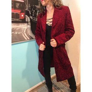 Fax fur  long vintage coat size S
